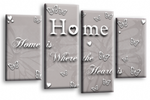 Home Quote Wall Art Print Powder Grey Love Split Picture